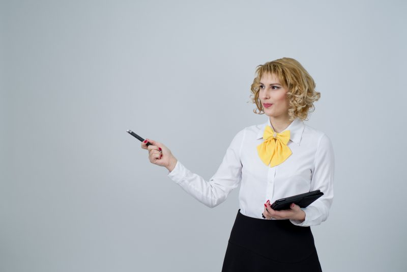 woman pointing to the past   past marketing trends