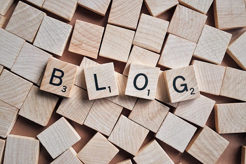 """blog"" spelled out with Scrabble squares 